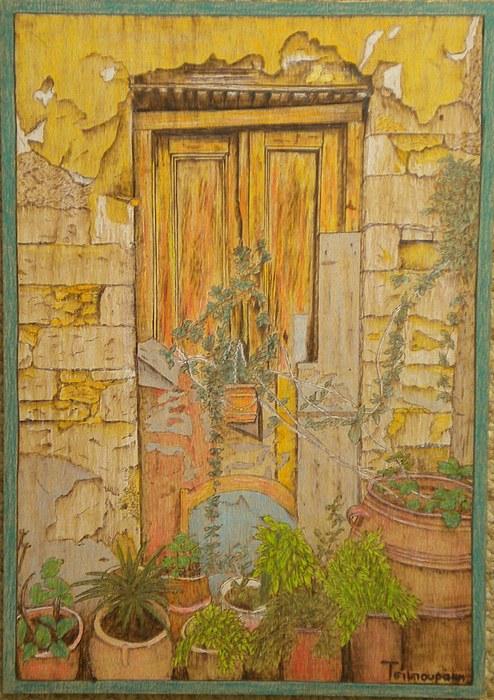 Door Painting - Yellow Door by Katerina Tsibouraki