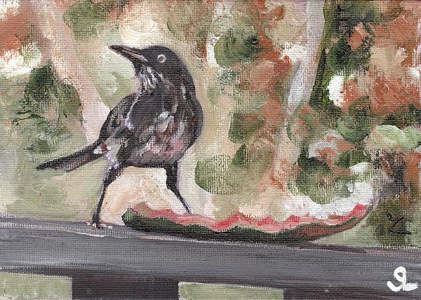 Puerto Rico Painting - Yellow Eyed Bird by Sarah Lynch