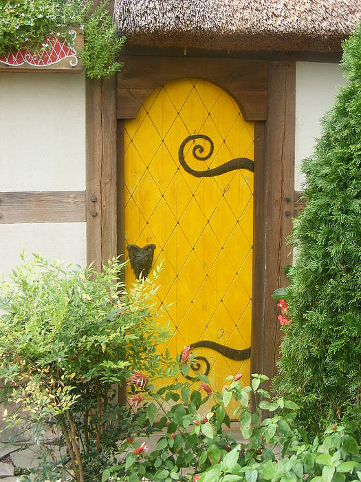 Fairy Photograph - Yellow Fairy House Door by James and Vickie Rankin