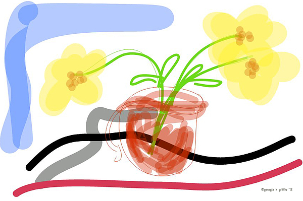 Digital Painting - Yellow Flowers In Red Cup by Georgia Griffin