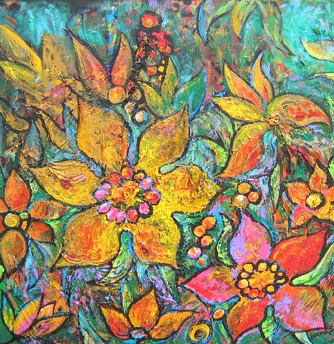 Flowers Painting - Yellow Flowers by Irena Shklover