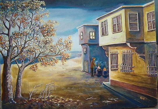 Landscape Painting - Yellow House by Fahrettin  Oktay