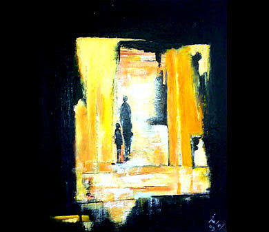Figurative Abstract Painting - Yellow Light by Talal Ghadban