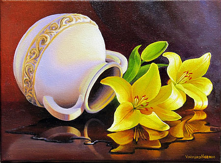 Yellow Lilies Reflection Painting by Varvara Harmon