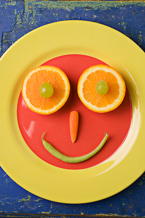 Face Photograph - Yellow Plate With Food Face by Garry Gay