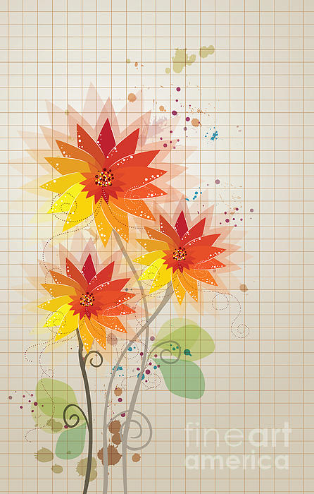 Yellow Red Floral Illustration Mixed Media by Heinz G Mielke