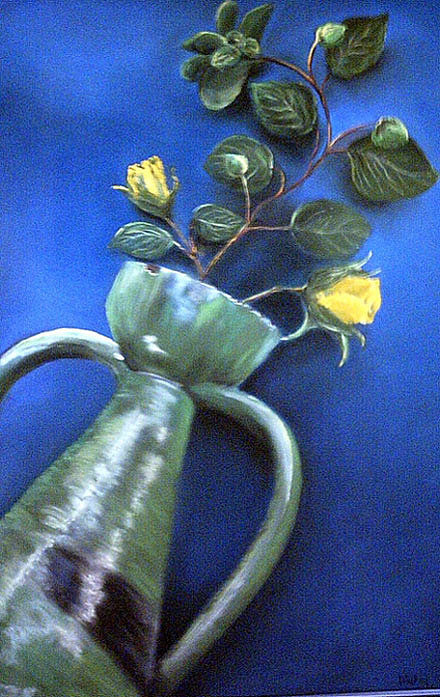 yELLOW ROSES IN GREEN VASE Painting by Dick Stolp