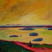 Bar Harbor Painting - Yellow Sky From Cadillac Mountain by Elizabeth Fraser
