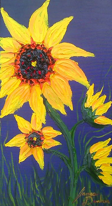 Tuscany Vineyards Painting - Yellow Sunflower 5 by Portland Art Creations