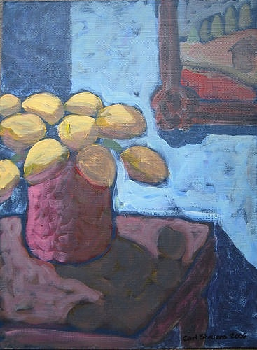 Yellow Tulips In Blue Room Painting by Carl Stevens