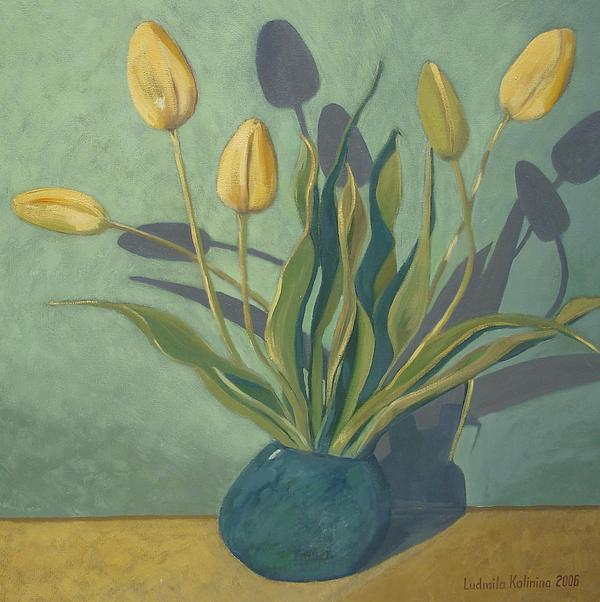 Yellow Tulips Painting by Ludmila Kalinina