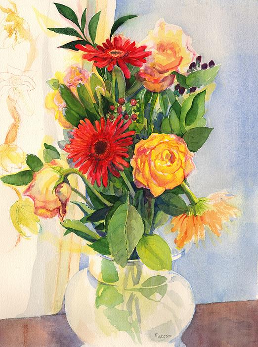 Watercolor Flowers Painting - Yesterdays Beauties by Nancy Watson