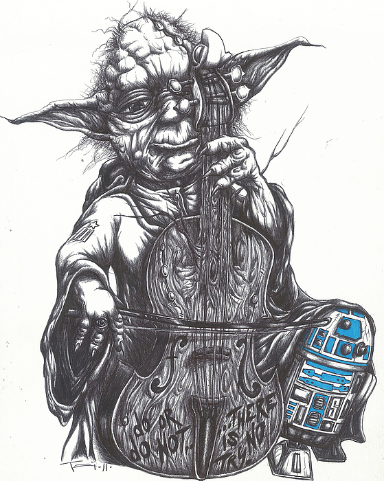Yoda Drawing - Yoda Soothes Baby R2 With The Charm Of His Homegrown Cello by Tai Taeoalii