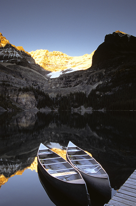 Canoe Photograph - Yoho National Park, Lake Ohara, British by Ron Watts