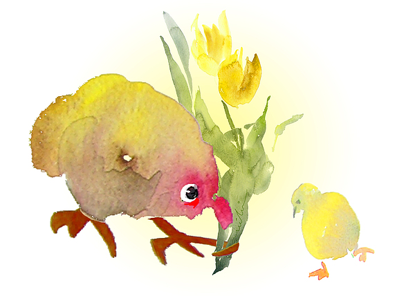 Birds Painting - You Are The Cutest Thing Ever by Miki De Goodaboom