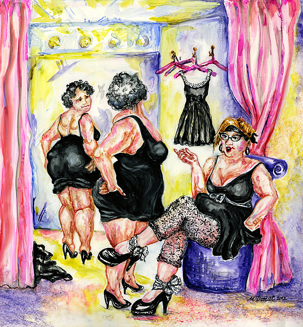 Fat Women Painting - You Cant Go Wrong With Basic Black by Margaret Donat
