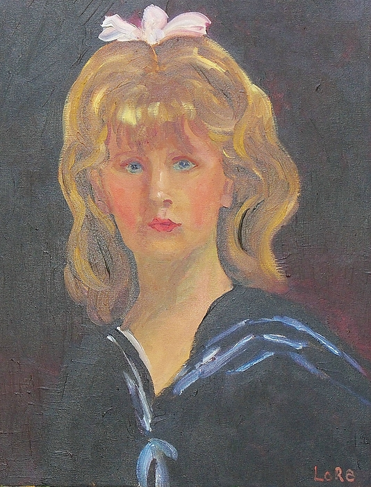 Blond Girl Painting - Young Girl With Bow by Lore Rossi