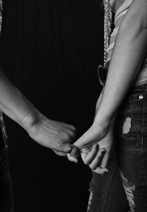 Holding Hands Photograph - Young Love - Pinky Touch by Scott Sawyer