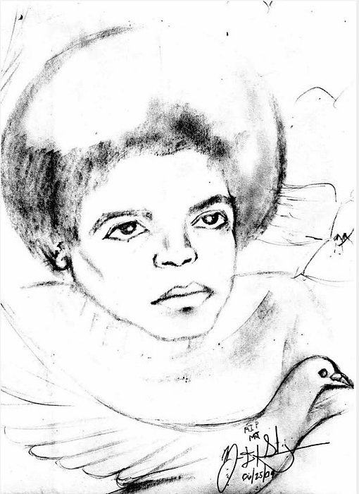 Mj Drawing - Young Micheal Jackson  by HPrince De Artist