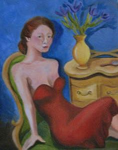 Young Woman Posing Painting by Mary Hollinger