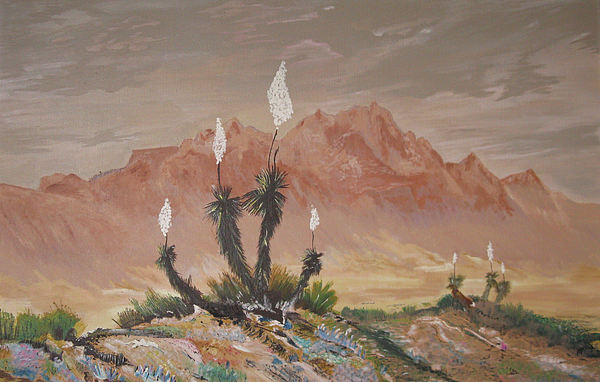 Mountains Painting - Yuccas In Bloom by Maris Sherwood