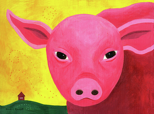 Pig Painting - Yuling The Happy Pig by Kristi L Randall