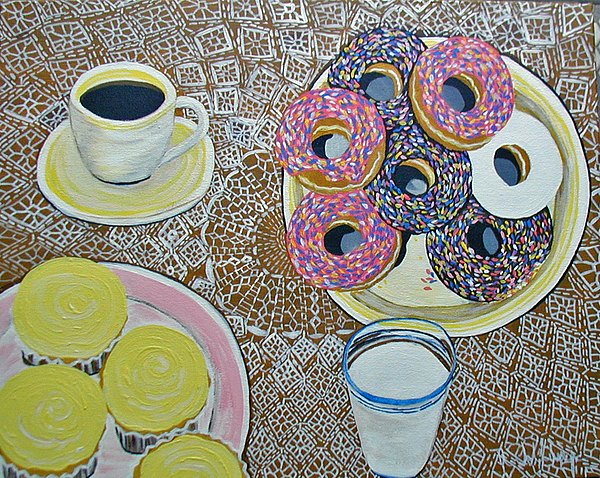 Donuts Painting - Yummy by Norma Tolliver