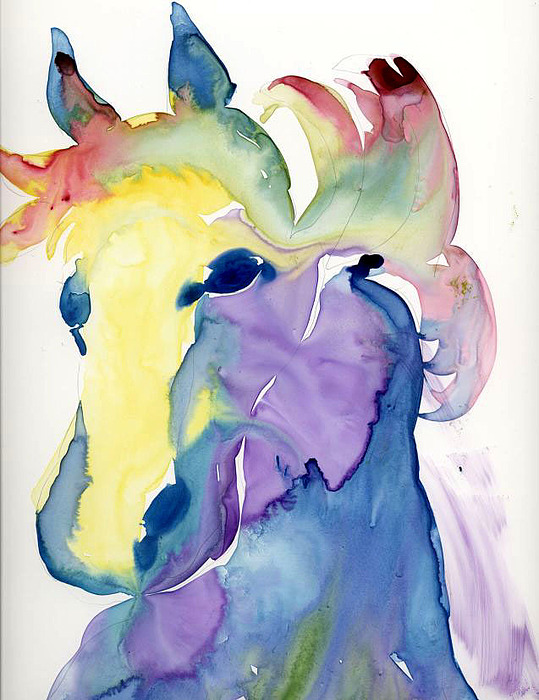 Horse Painting - Yupo Horse by Janet Doggett