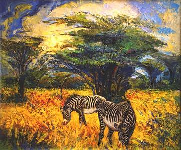 Zebra Painting - Zebras by Meihua Lu