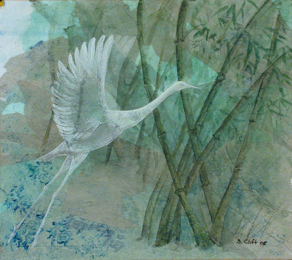 White Crane Painting - Zen Morning by Sandy Clift