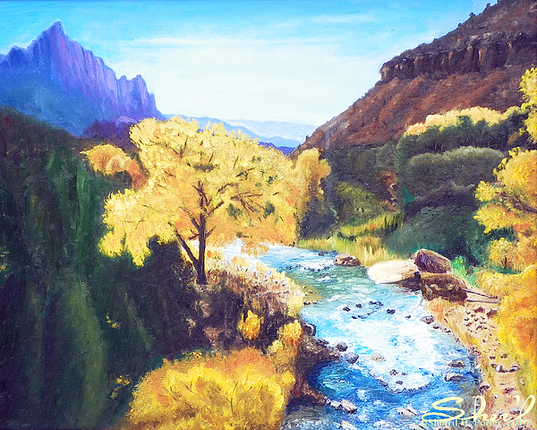 Zion National Park Painting - Zions In Autumn by Sherril Porter