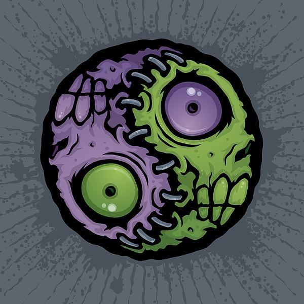 Zombie Drawing - Zombie Yin-yang by John Schwegel