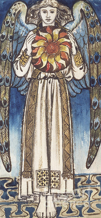 Study Painting - Day Angel Holding A Sun by William Morris