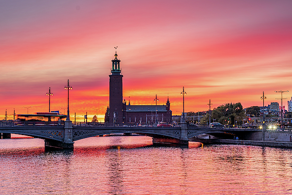 Fiery Photograph - Gorgeous Gentle Pink Sunset Over The Stockholm City Hall by Dejan Kostic