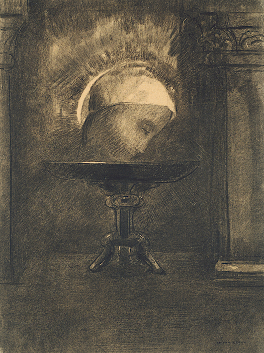 French Painters Drawing - Head Wearing A Phrygian Cap, On A Salver by Odilon Redon