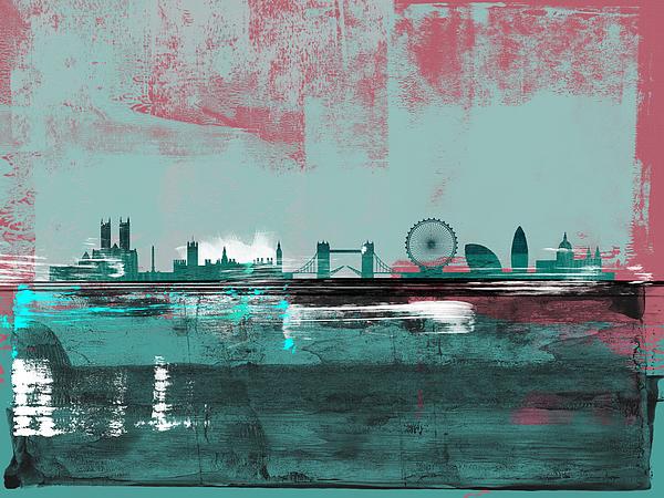 London Mixed Media - London Abstract Skyline II by Naxart Studio