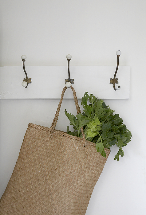 Basket Hanging On Hook With Vegtables In Photograph by Heidi Coppock-Beard