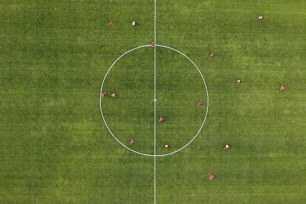 Aerial view of football match Photograph by fStop Images - Stephan Zirwes