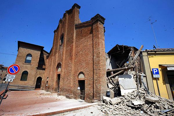 At Least Nine Killed as 5.8 Magnitude Earthquake Strikes Northern Italy Photograph by Roberto Serra/Iguana Press
