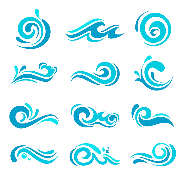 Blue Waves Set Drawing by Artvea