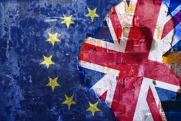 Brexit, Flags Of The United Kingdom And The European Union On Cracked Background Photograph by Yaorusheng
