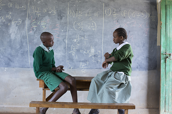 Deaf children learning sign language at school. Photograph by Hugh Sitton