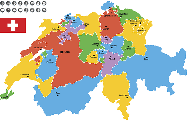 Detailed Vector Map of Switzerland Drawing by Poligrafistka