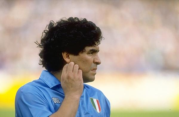 Diego Maradona of Napoli SSC Photograph by Simon Bruty