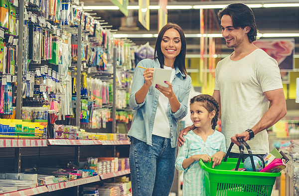 Family in the supermarket Photograph by GeorgeRudy