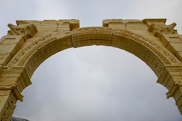 Finishing Touches Are Made To A Replica Of The Triumphal Arch That Stood At Palmyra Photograph by Marco Secchi