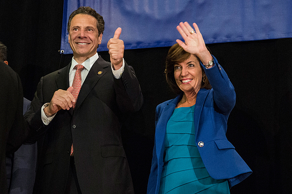 Governor Cuomo Attends A Get Out The Vote Rally In Times Square Ahead Of States Primary Photograph by Andrew Burton