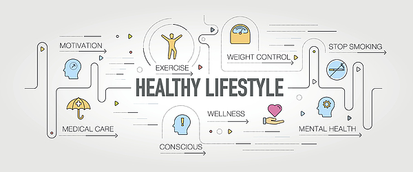 Healthy Lifestyle banner and icons Drawing by Enis Aksoy