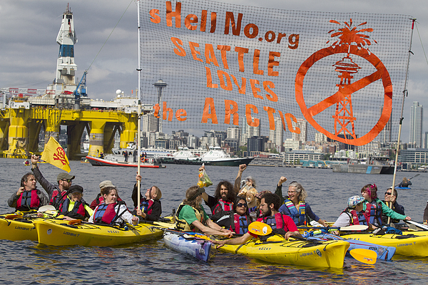 Large Shell Oil Ship Arrives In Seattle, As Part Of Fleet To Lead Companys Oil Exploration Off Alaskan Coast Photograph by Karen Ducey