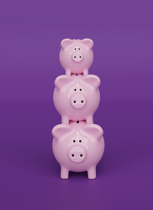 Piggy Bank background, 3D Render Photograph by Andrew Dernie